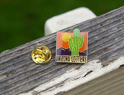 Arizona Lottery Az State Cactus Sun Gambling Gold Tone Metal Lapel Pin Pinback