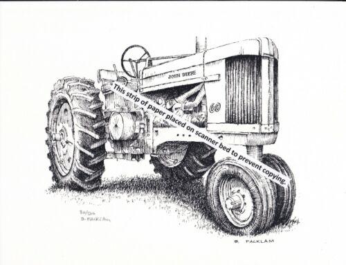 John Deere Model 60 Tractor ~ Pen & Ink Print