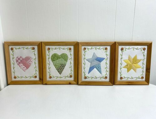 Vintage Country Quilt Squares Framed Set 4 Multicolor Wall Hanging Home Decor