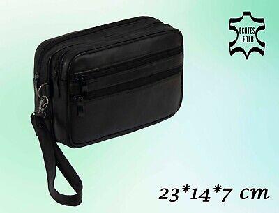 Herren Tasche Handgelenktasche Handtasche Leder Schwarz 23 * 14 * 7 cm