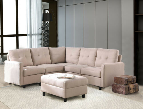 7-Piece Modular Sectional Sofa Modern Living Room Linen Couch With Back Cushion  1