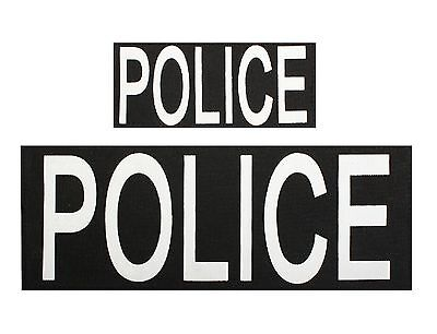 Police Patches W Hook Back - 1 Large And 1 Small Vest Jacket Patch