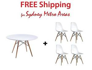 COMBO SALE - Eames Wood Leg Dining Table 120cm & DSW Chair x 4 Zetland Inner Sydney Preview