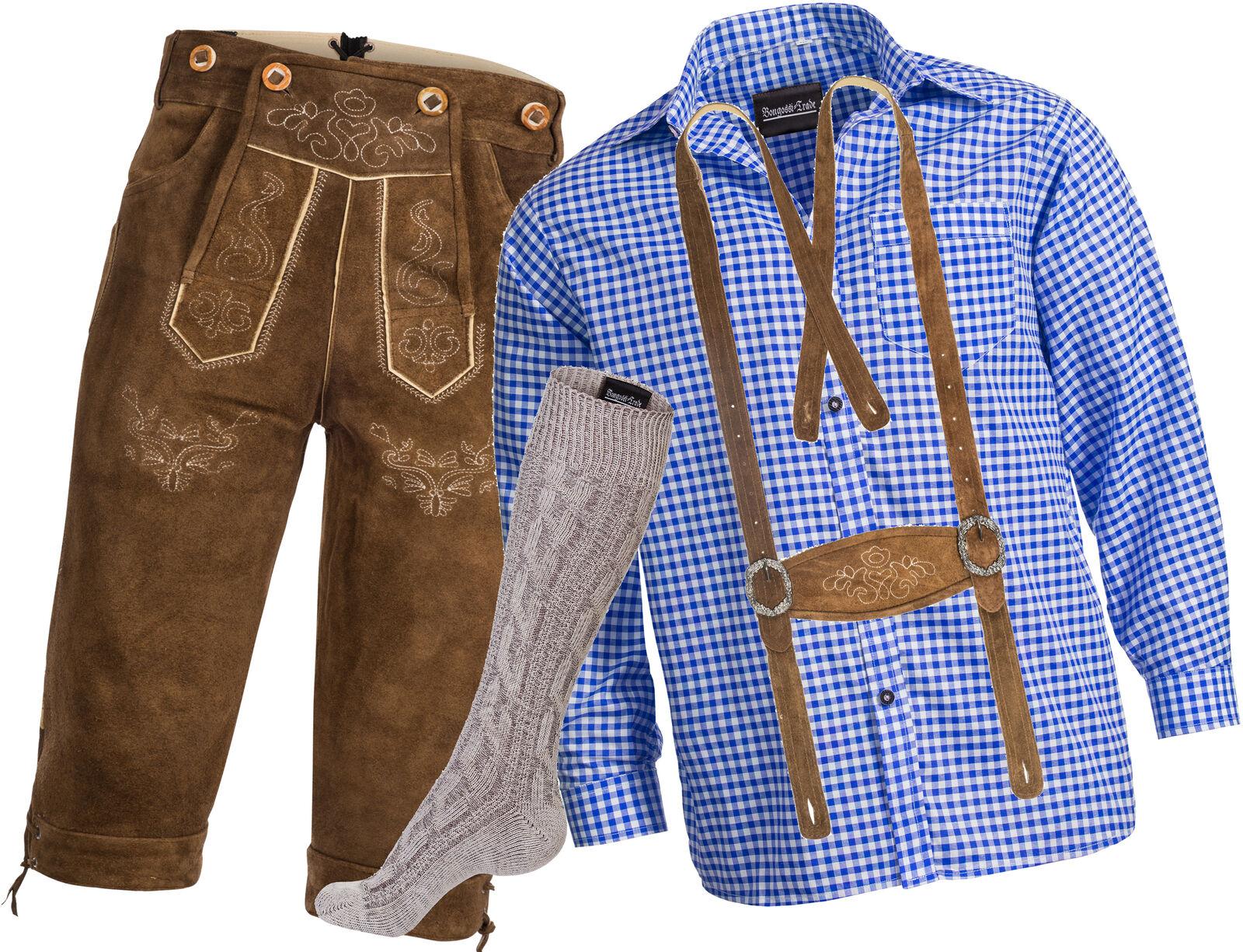 Herren Trachten Set Lederhose m. Trägern rehbraun + Trachtenhemd blau + Strümpfe