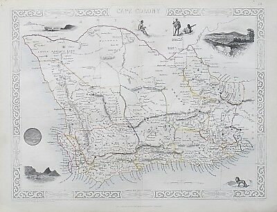 c1854 SOUTH AFRICA CAPE COLONY Genuine Antique Map by Rapkin