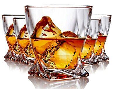 Set of 6 Twist Whiskey Glass  - Elegant Lead Free Crystal Old Fashioned Glasses