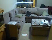 5 Seater Corner Lounge and Footrest - Beige Colour Padstow Bankstown Area Preview