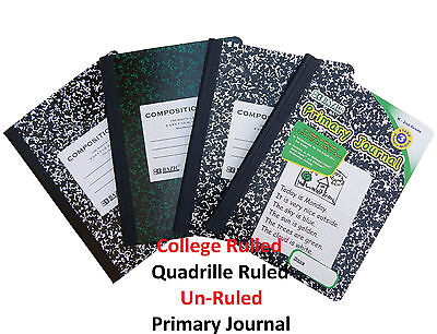 Primary Composition Notebooks (Composition Note Books College Ruled, Quadrille Ruled, Unruled, Primary)
