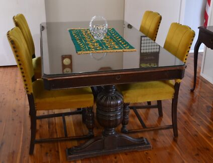 1924 USA Antique Dining Suite Extending Table 6 Chairs Sideboard