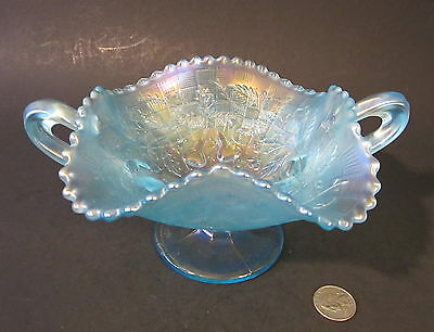 RARE NORTHWOOD ICE BLUE Carnival Glass FRUITS & FLOWERS Bonbon Candy Dish Bowl