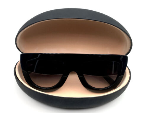 Large BLACK Hard Case Shell for Sunglasses and Eyeglasses Smooth Matte