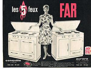 publicite advertising 034 1960 far gazini re 5 feux aurore. Black Bedroom Furniture Sets. Home Design Ideas