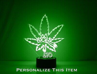Marijuana Leaf 420 Night Light LED & Remote Personalized Free Cannabis Lamp