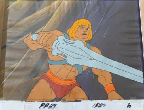 He-Man original production Cel & copy background: HE-MAN