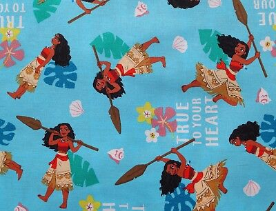 (DISNEY PRINCESS FABRIC MOANA TRUE TO YOUR HEART 100% COTTON SPRINGS  BY THE YARD)