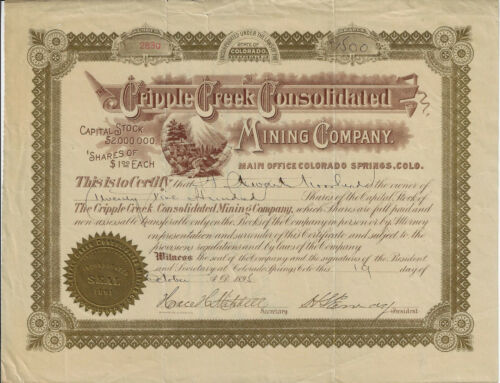 1895 COLORADO Cripple Creek Consolidated Mining Company Stock Certificate