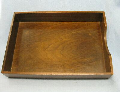 Vintage Wood Paper Tray Holder Office Desk Top Organizer