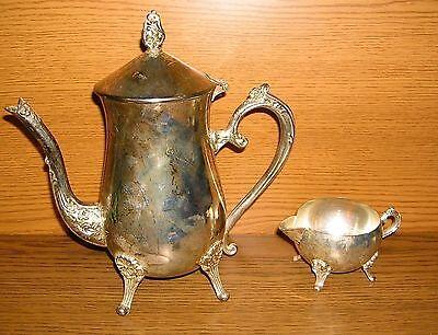 Kaffeekanne Milchkännchen Geschirr versilbert Service Silberauflage Kanne