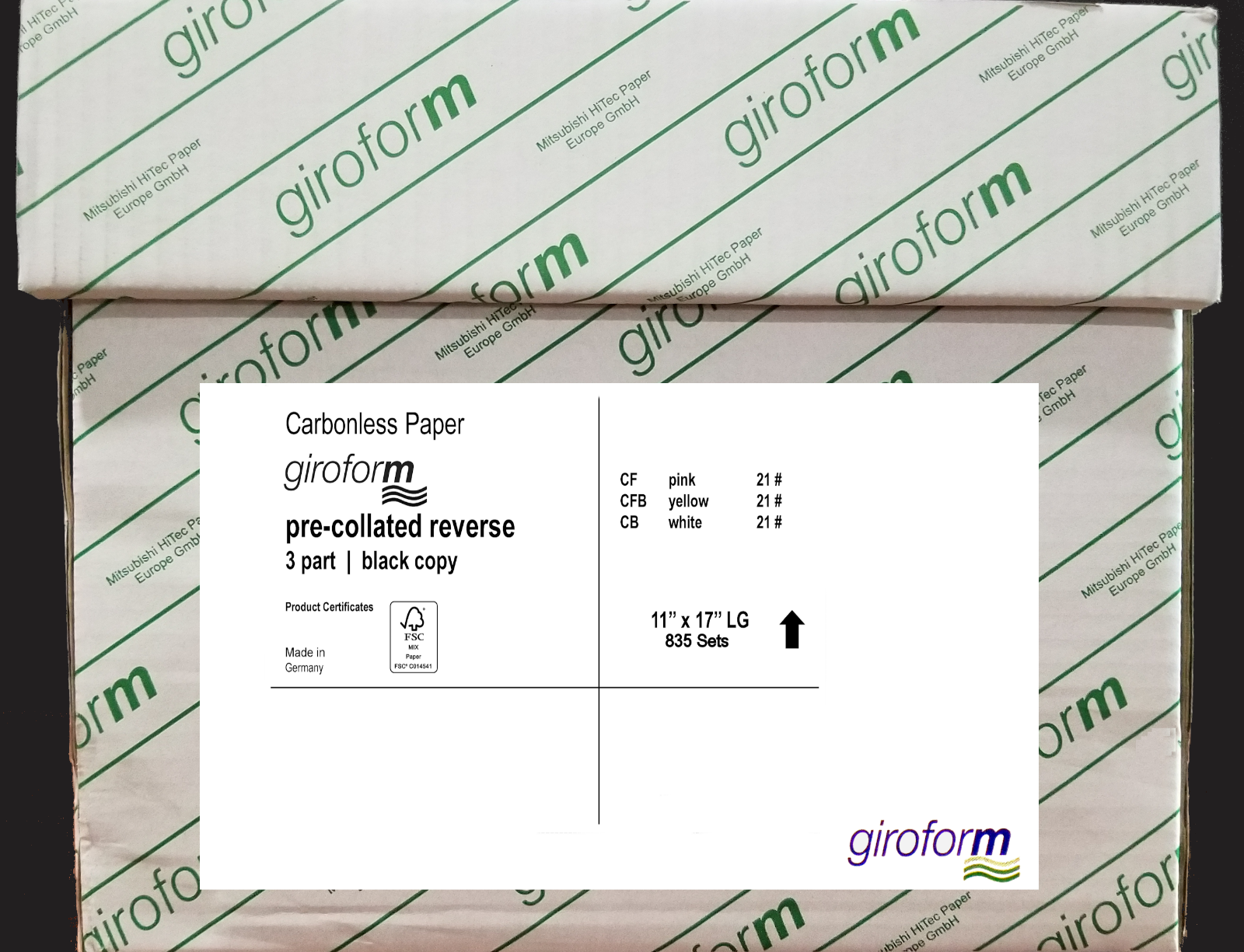 UNIVERSAL Two-Part Carbonless Paper 15lb 9-1//2 x 11 Perforated White 1650 Sheets