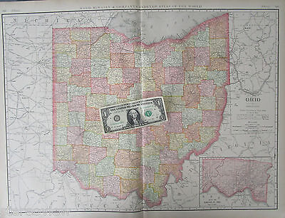 XL 1902 Dated OH Map OHIO State Wall Map RAILROADS HAMILTON County  - $14.97