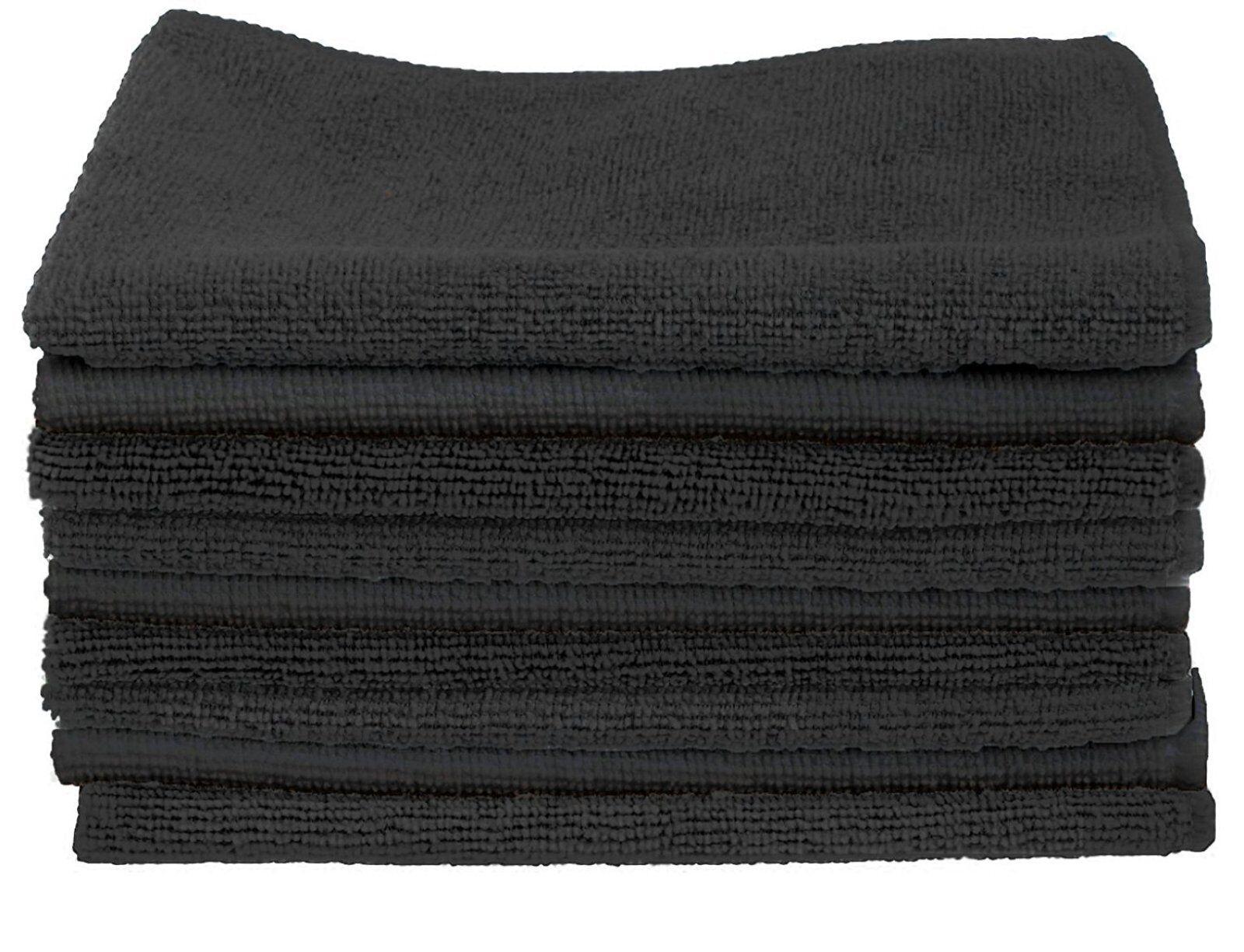 Microfiber Cleaning Cloth 30 Pcs Polishing Car Towel Kitchen Rugs 14x14in Black