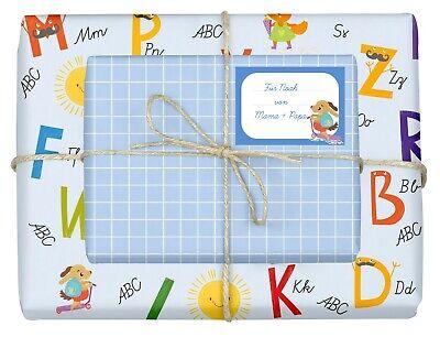 4x Geschenkpapier Einschulung (Jungen, blau, ABC) inkl. Heft-Etiketten   NEU