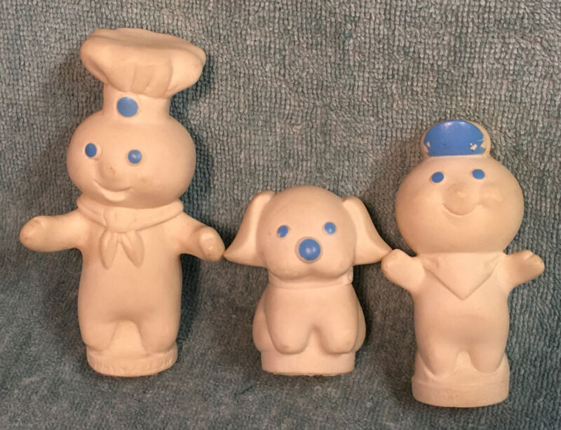 Vtg 1974 Pillsbury Doughboy Finger Puppets Poppin-Fresh-Flapjack Dog-Poppen Boy