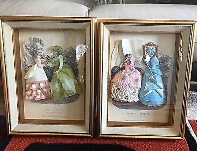 Lot of 2 Antique French Fashion LA MODE Illustree Embellished 3-D Shadowbox, used for sale  Commerce Township