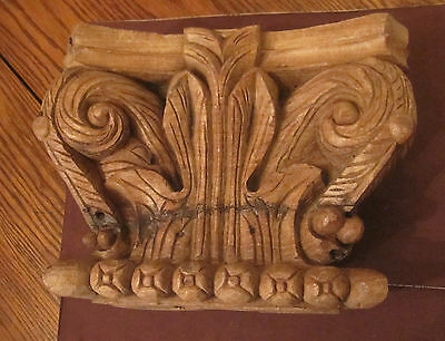 antique big very heavy 1800s hand carved wood architectural sculpture corbel old
