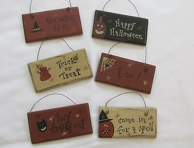Primitive Style Wood Ornaments / Signs HALLOWEEN Theme witch pumpkin cat 6pc NEW