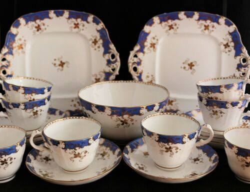 Antique 19th C. Samuel Alcock Burslem Staffordshire Dessert Set Cups Cake plates
