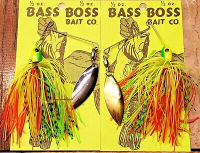TWO-1//2 OZ BASS BOSS SPINNERBAITS WITH HAMMERED NICKEL BLADES AND GLOW SKIRT