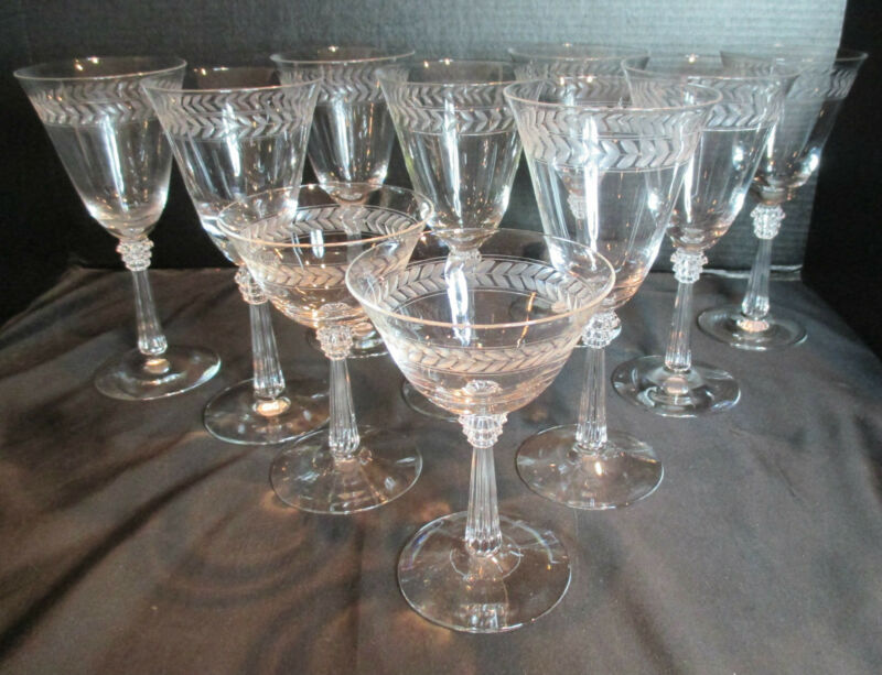 Fostoria Laurel Crystal Stemware 1938-1959 8 Water Goblets & 2 Champagne Sherbet