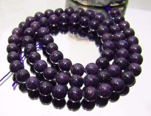 """67 NATURAL UNTREATED AFRICAN PURPLE SUGILITE ROUND BEADS 6mm 125ctw 15.5"""" strand"""