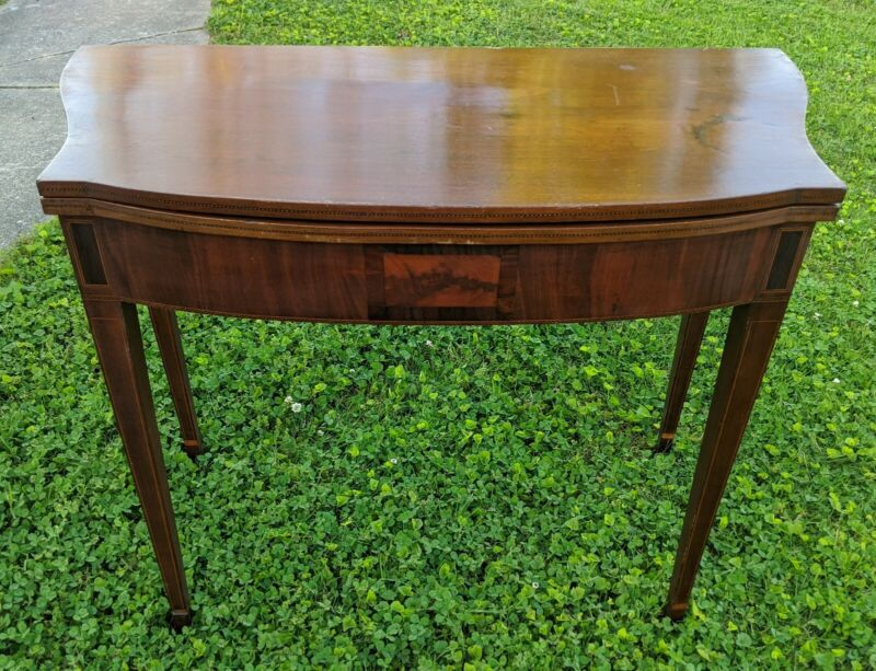 Antique Federal Hepplewhite Games Card Table 18th 19th Century Mahogany & Inlaid
