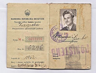 YUGOSLAVIA - PEOPLE'S REPUBLIC OF CROATIA - ID card issued in Zagreb 1950