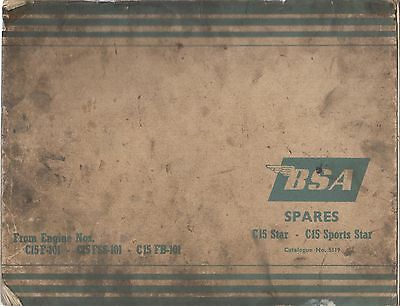 BSA C15 STAR & C15 SPORTS STAR ORIGINAL FACTORY PARTS CATALOGUE
