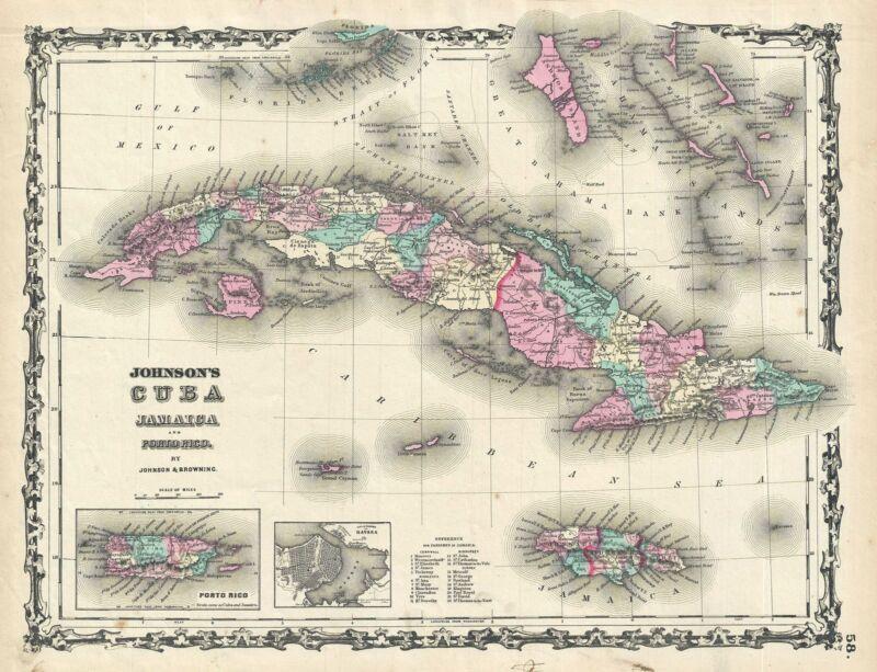 1861 Johnson Map of Cuba, Jamaica and Puerto Rico