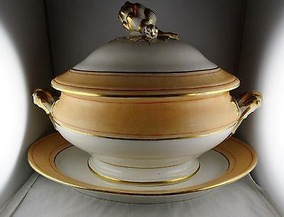 Paris Porcelain Peach & Gold Trim Acorn Finial Large Soup Tureen and Underplate