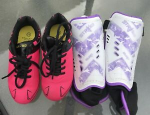 Kids size 13 soccer shoes and shin pads