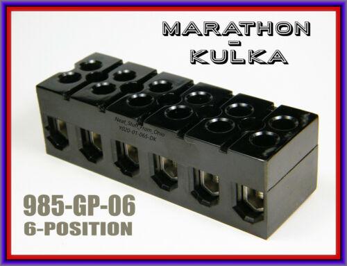 MARATHON 6-POSITION TERMINAL STRIP,  INDUSTRIAL ELECTRICAL CONNECTOR - 985GP6