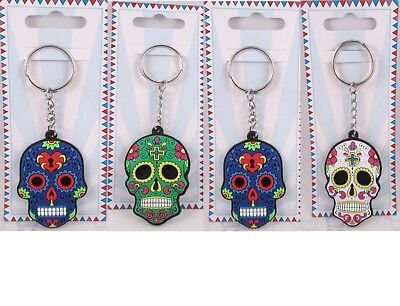 One Suger Skull Day Of The Dead Soft Rubber Keychain  Choice Of Four - Suger Skull
