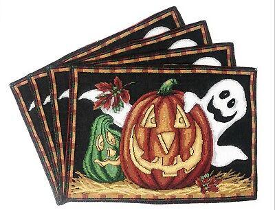 "DaDa Bedding Halloween Pumpkin Ghosts Placemats, Set of 4 Tapestry 13"" x 19"" - Halloween Place Mats"