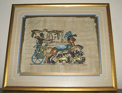 King Tut Bow Hunting on a Chariot Dogs Modern Egyptian Painting on Papyrus Paper (Egyptian Dog Costume)