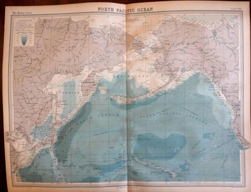 Northern Pacific Ocean Alaska Russia Japan Korea Hawaii 1922 large detailed map