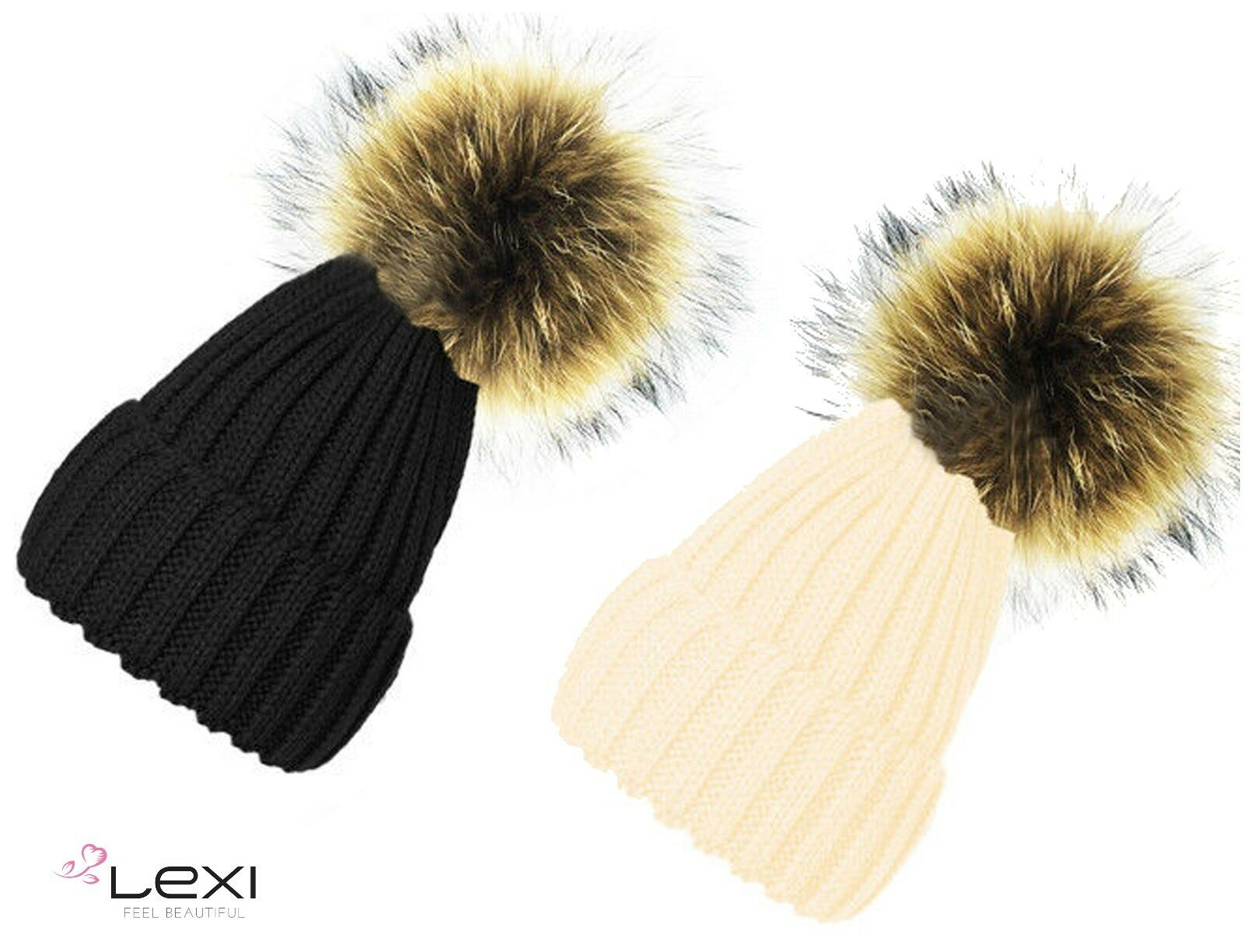 795aa4a74cd Details about Ladies Chunky Knitted Soft Woolly Beanie Faux Fur Bobble Pom  Pom Ski Winter Hats