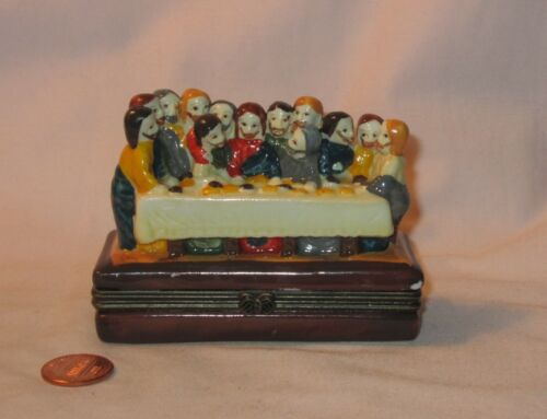 """4"""" Christian Religious """"The Last Supper"""" Porcelain Hinged Trinket Box; Unbranded"""