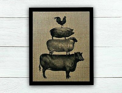Stacked Farm Animals 100% BURLAP Farmhouse Decor Rustic Kitchen Decor UNFRAMED](Farm Decorations)