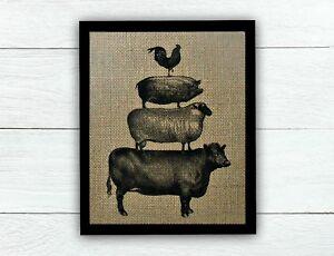 STACKED FARM ANIMALS ON 100% BURLAP! Farmhouse Decor - Kitchen Decor - Rustic