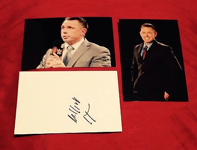 wwe michael cole signed record card with 2 4x6 photos rare proof